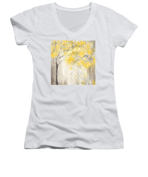 Yellow And Gray Tree Women's V-Neck (Athletic Fit)