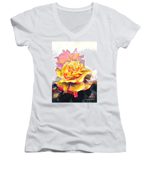 Women's V-Neck T-Shirt (Junior Cut) featuring the painting Yellow Rose Fringed In Red by Greta Corens