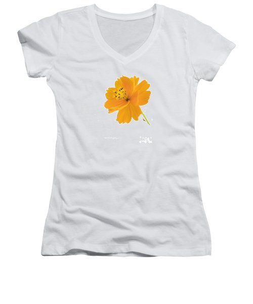 Yellow Coreopsis Women's V-Neck (Athletic Fit)