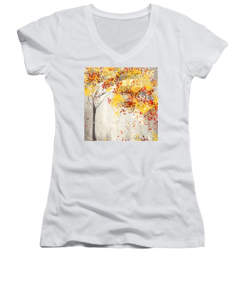 Yellow Gray And Red Women's V-Neck