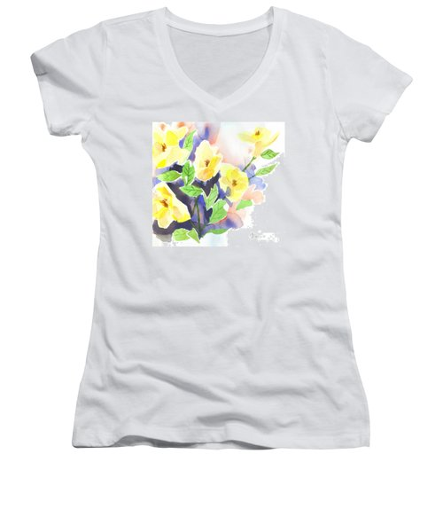 Women's V-Neck T-Shirt (Junior Cut) featuring the painting Yellow Magnolias by Kip DeVore