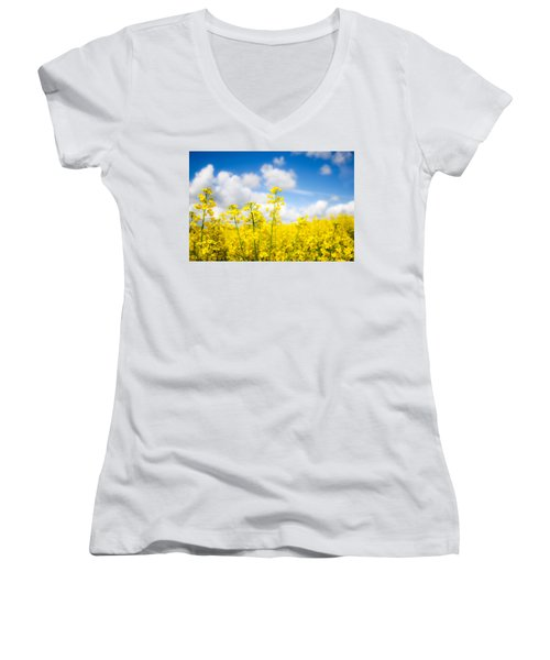 Yellow Mustard Field Women's V-Neck T-Shirt