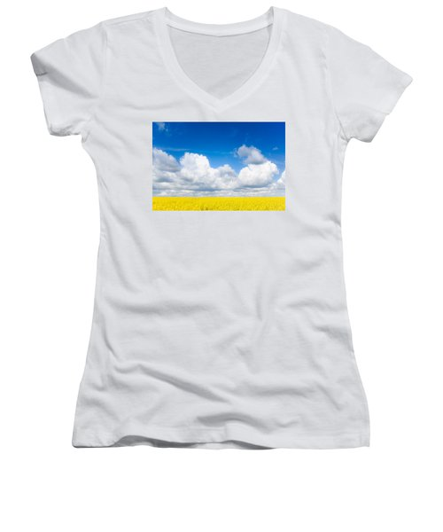 Yellow Mustard Fields Under A Deep Blue Sky Women's V-Neck T-Shirt