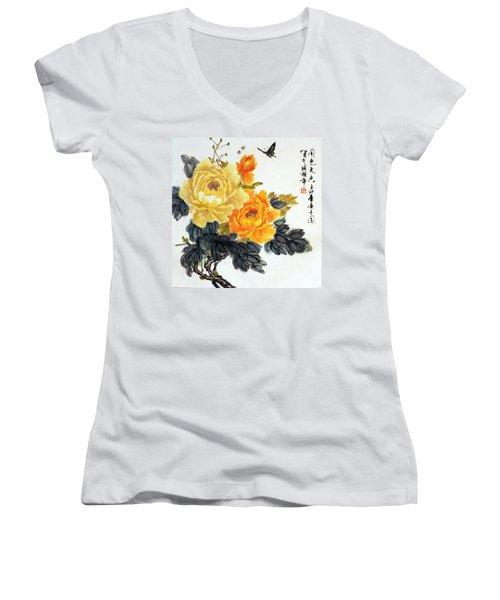 Women's V-Neck T-Shirt (Junior Cut) featuring the photograph Yellow Peonies by Yufeng Wang