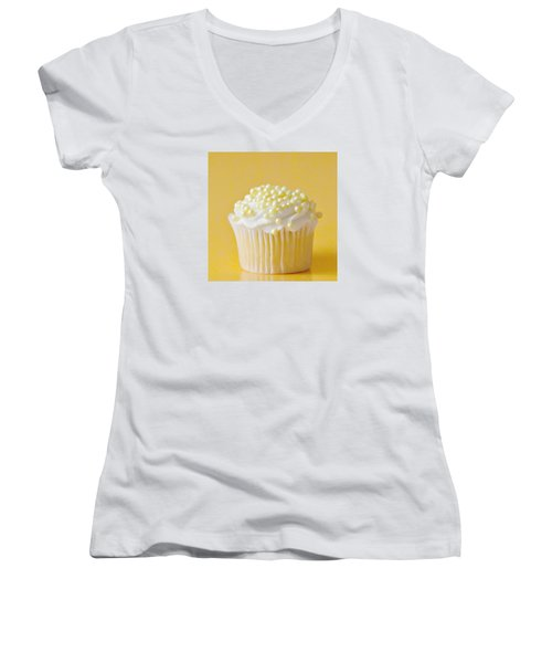 Yellow Sprinkles Women's V-Neck T-Shirt (Junior Cut) by Art Block Collections