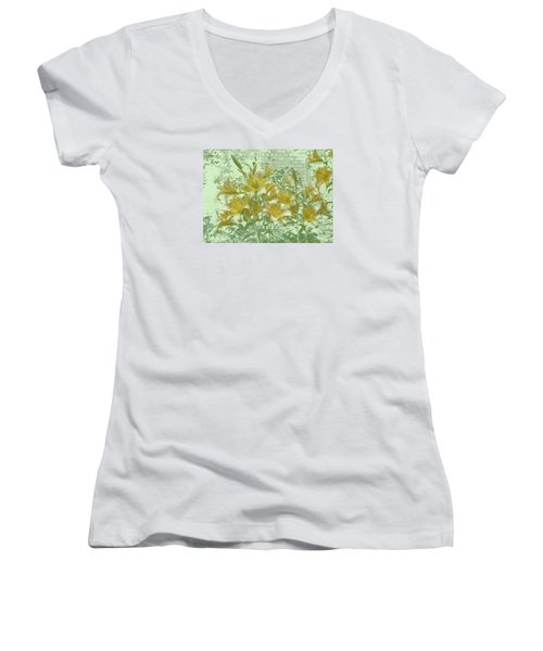 Women's V-Neck T-Shirt (Junior Cut) featuring the photograph Yellow Stargazers On Soft Green by Tom Wurl