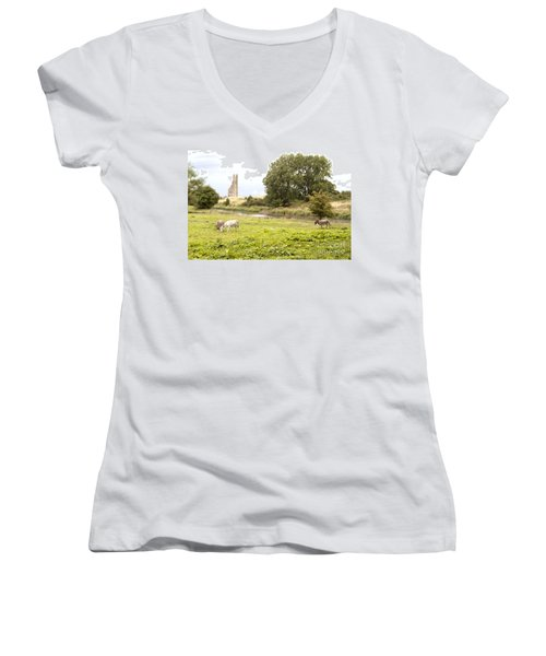 Yellow Steeple Amidst Meath Ireland Women's V-Neck T-Shirt