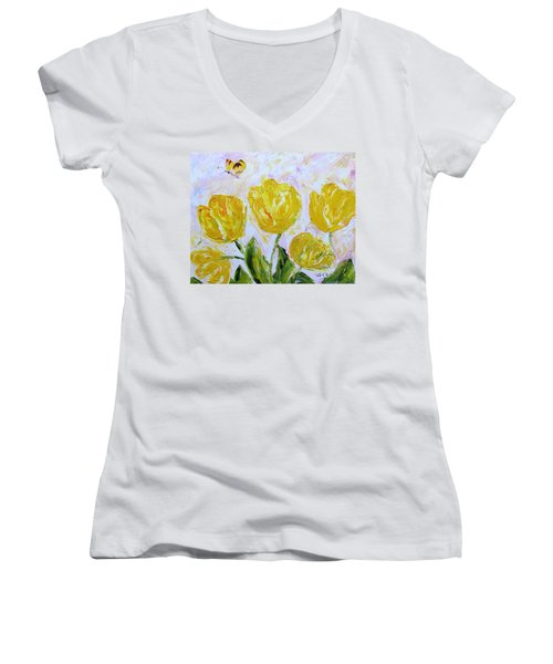 Yellow Tulips And Butterfly Women's V-Neck T-Shirt