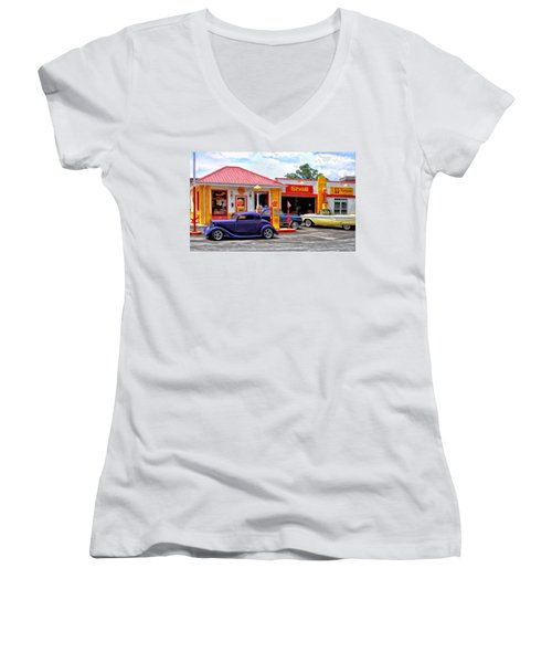 Yesterday's Shell Station Women's V-Neck T-Shirt (Junior Cut) by Michael Pickett