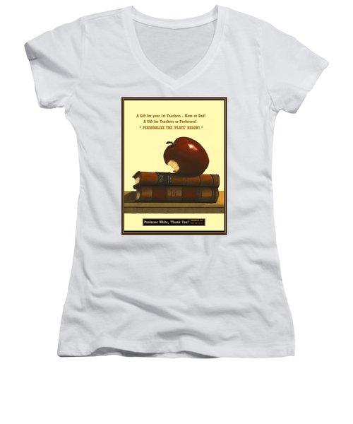 You Add Personalized Text On Plate  # 6 1 Women's V-Neck T-Shirt