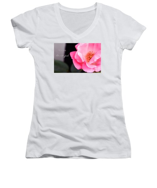 You Are Beautiful Women's V-Neck T-Shirt (Junior Cut) by Andrea Anderegg