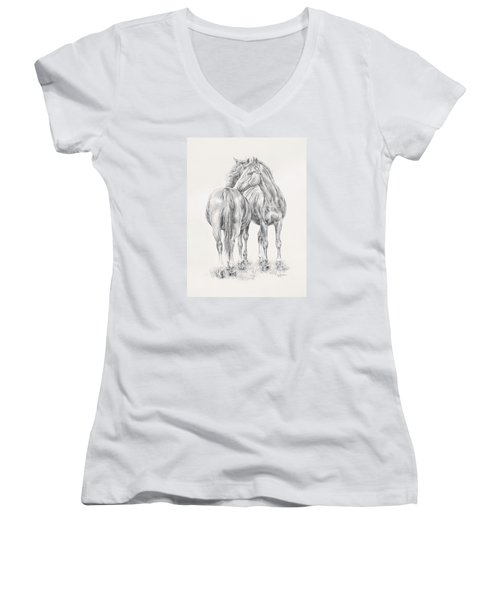 You Scratch My Back I'll Scratch Yours Women's V-Neck T-Shirt (Junior Cut) by Kim Lockman
