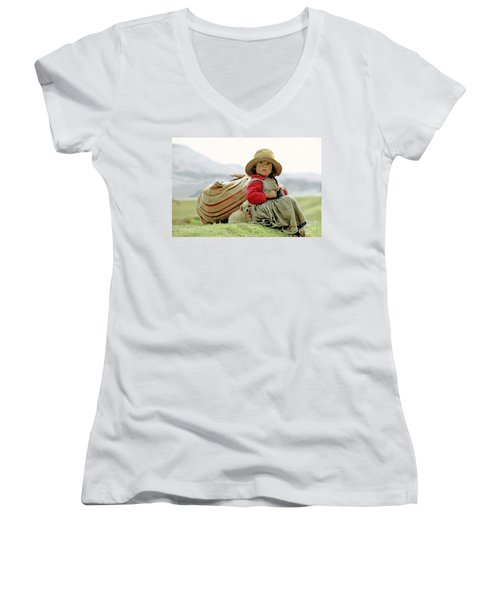 Young Girl In Peru Women's V-Neck T-Shirt