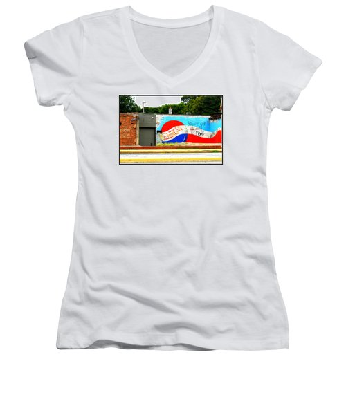 You've Got A Life To Live Pepsi Cola Wall Mural Women's V-Neck T-Shirt (Junior Cut) by Kathy Barney