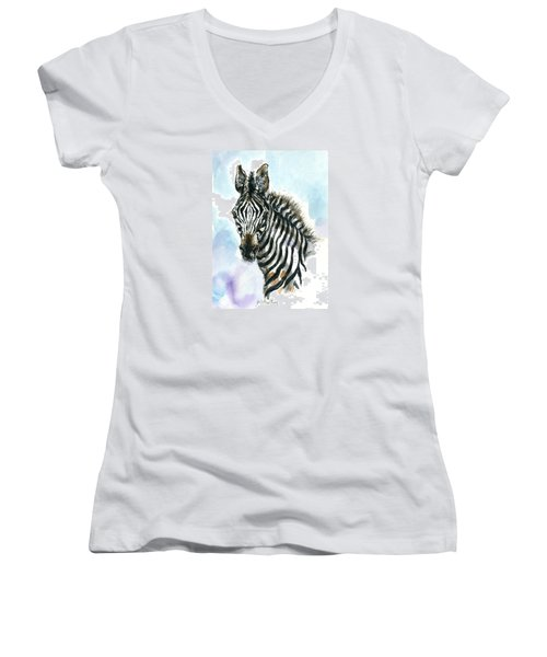 Zebra 1 Women's V-Neck T-Shirt
