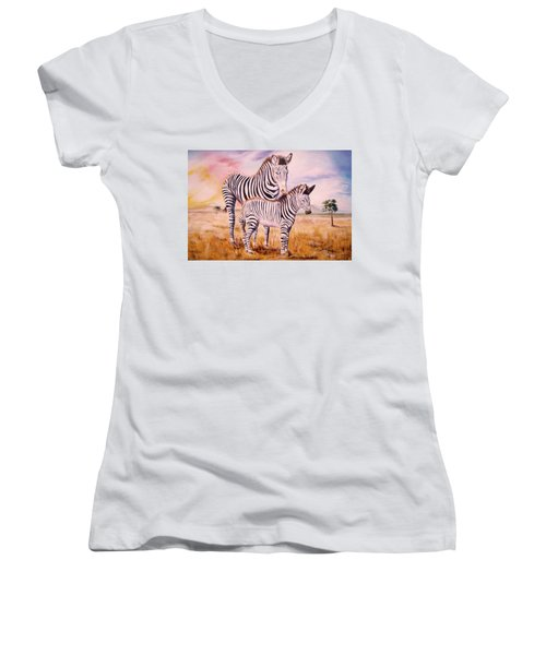 Zebra And Foal Women's V-Neck