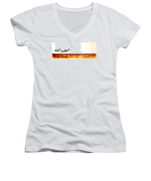 Zebra Crossing - Original Artwork Women's V-Neck (Athletic Fit)
