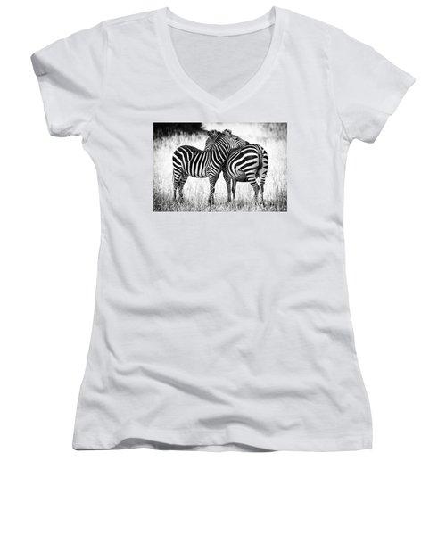 Zebra Love Women's V-Neck T-Shirt (Junior Cut) by Adam Romanowicz