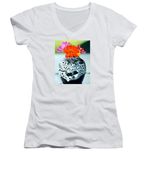 Women's V-Neck T-Shirt (Junior Cut) featuring the photograph Zinnia In Vase by Lehua Pekelo-Stearns