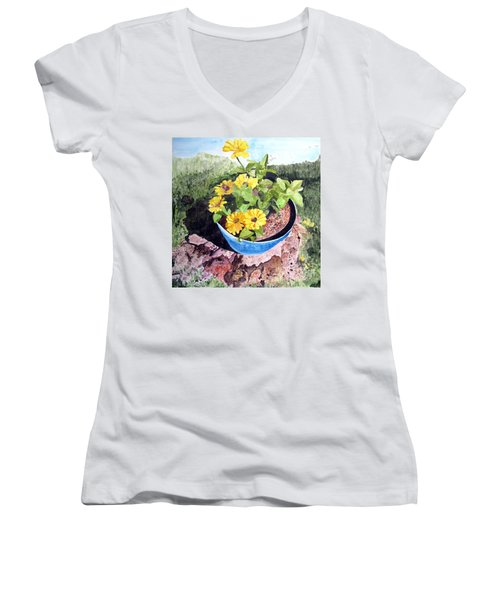 Zinnia On A Tree Stump Women's V-Neck (Athletic Fit)