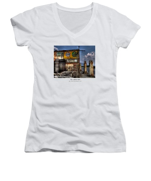 Women's V-Neck T-Shirt (Junior Cut) featuring the photograph  Full Service Days by Beverly Cash