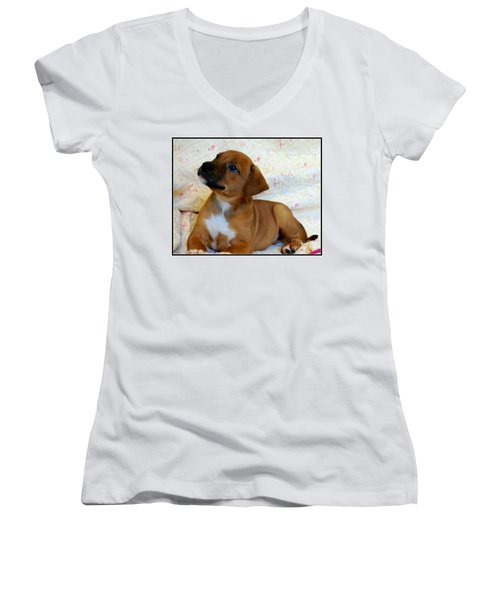 Women's V-Neck T-Shirt (Junior Cut) featuring the photograph   Take Me Home Please by Peggy Franz