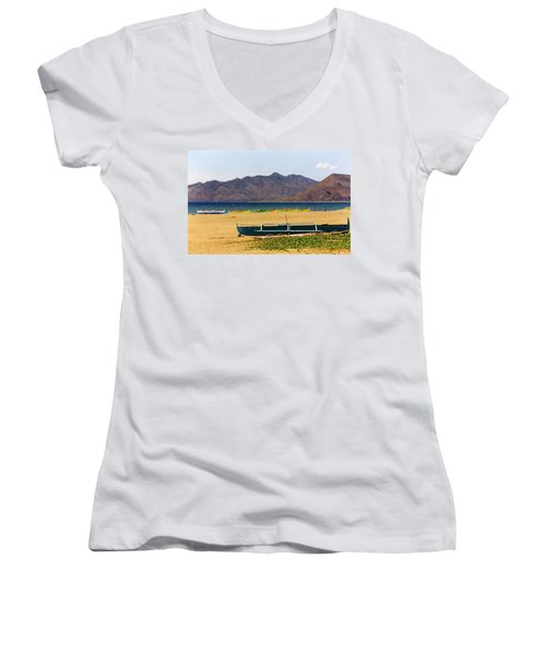 Boats On South China Sea Beach Women's V-Neck (Athletic Fit)