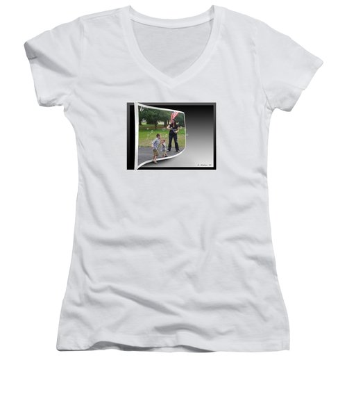 Women's V-Neck T-Shirt (Junior Cut) featuring the photograph Chasing Bubbles by Brian Wallace