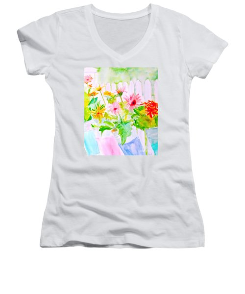 Women's V-Neck T-Shirt (Junior Cut) featuring the painting Daisy Daisy by Beth Saffer