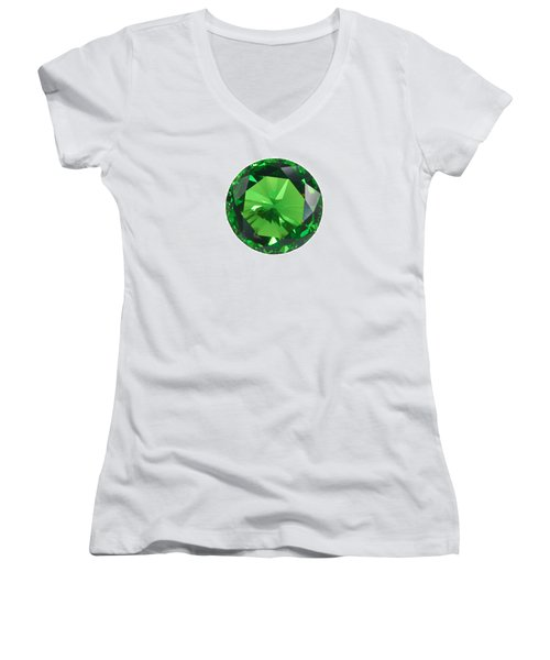 Emerald Isolated Women's V-Neck T-Shirt (Junior Cut) by Atiketta Sangasaeng