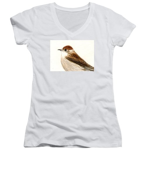 Women's V-Neck T-Shirt (Junior Cut) featuring the drawing Female Blackcap  by Barbara Moignard