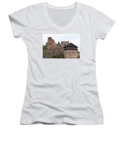 Women's V-Neck T-Shirt (Junior Cut) featuring the photograph Filakovo Hrad - Castle by Les Palenik