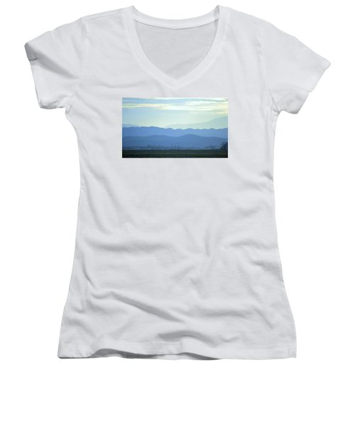 Women's V-Neck T-Shirt (Junior Cut) featuring the photograph Layers by Rima Biswas
