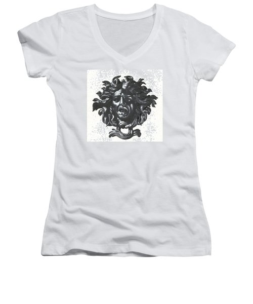 Medusa Head Women's V-Neck T-Shirt (Junior Cut) by Photo Researchers