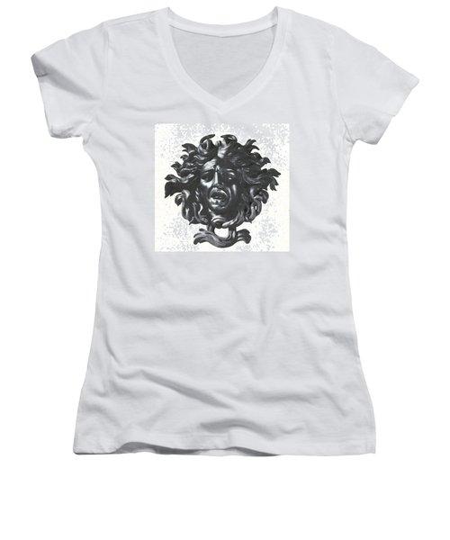Medusa Head Women's V-Neck T-Shirt (Junior Cut) by Photo Researchers