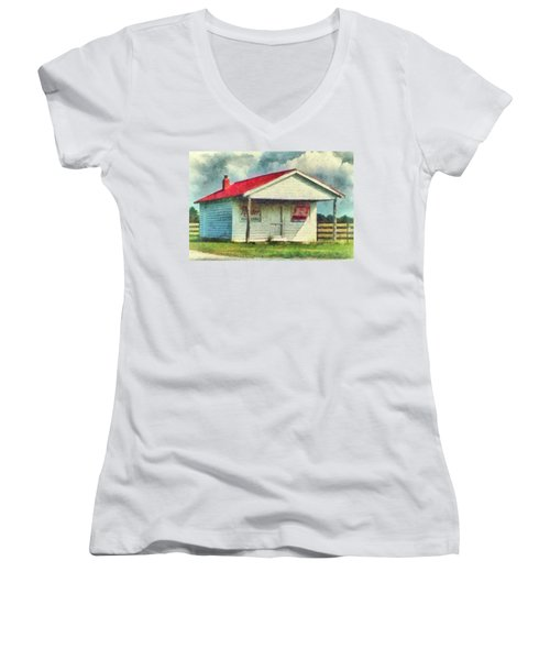 Women's V-Neck T-Shirt (Junior Cut) featuring the painting Royster Fertilizers  by Lynne Jenkins