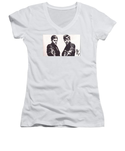 Women's V-Neck T-Shirt (Junior Cut) featuring the drawing The Boondock Saints by Jeremiah Colley