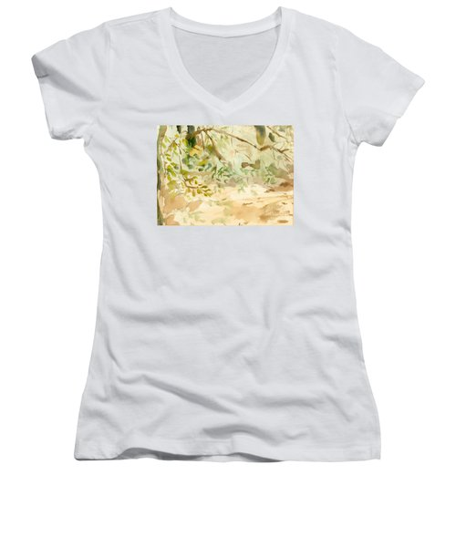 Women's V-Neck T-Shirt (Junior Cut) featuring the painting The Breeze Between by Daun Soden-Greene