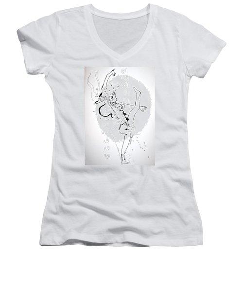 Women's V-Neck T-Shirt (Junior Cut) featuring the drawing Zulu Dance - South Africa by Gloria Ssali