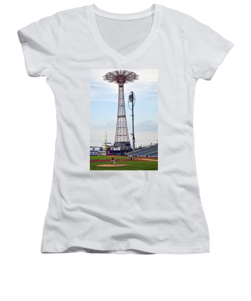 13 Year Old Pitching At Coney Island Cyclones Stadium Women's V-Neck T-Shirt