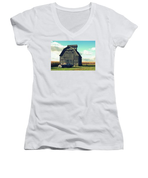 1950 Cadillac Barn Cornfield Women's V-Neck (Athletic Fit)