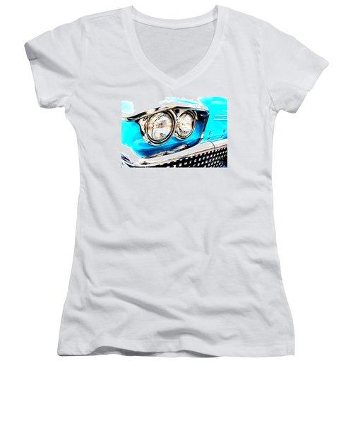 Women's V-Neck T-Shirt (Junior Cut) featuring the digital art 1958 Buick by Tony Cooper