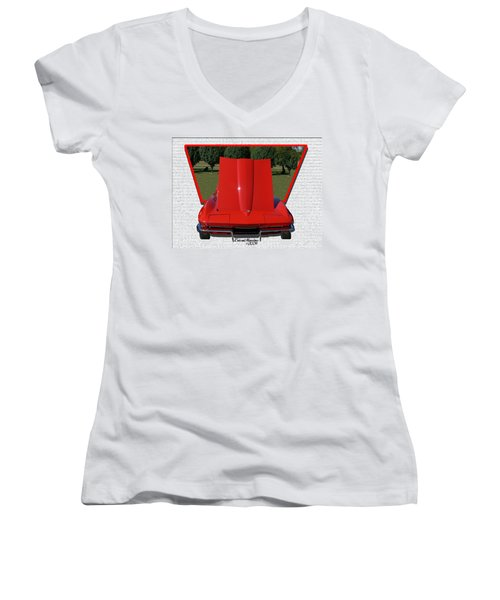 1965 Corvette Women's V-Neck T-Shirt (Junior Cut) by EricaMaxine  Price