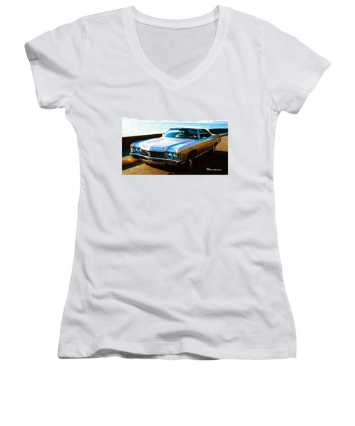 Women's V-Neck T-Shirt (Junior Cut) featuring the photograph 1971 Chevrolet Impala Convertible by Sadie Reneau