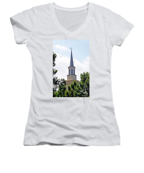 Women's V-Neck T-Shirt (Junior Cut) featuring the photograph 1st Presbyterian Steeple by Kay Lovingood