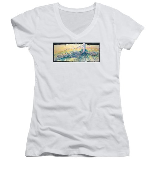 Rooted In Time Women's V-Neck T-Shirt (Junior Cut) by Carolyn Rosenberger