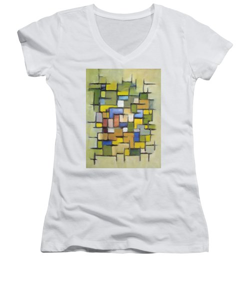2012 Abstract Line Series Xx Women's V-Neck T-Shirt (Junior Cut) by Patricia Cleasby