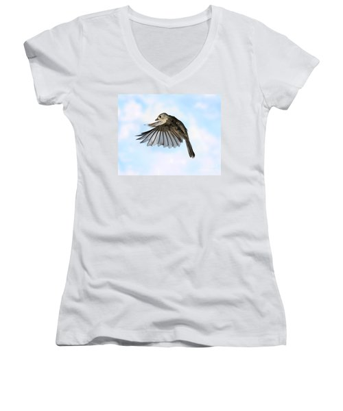Tufted Titmouse In Flight Women's V-Neck T-Shirt