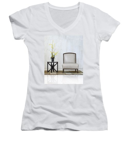 A Chair And A Table With A Plant  Women's V-Neck