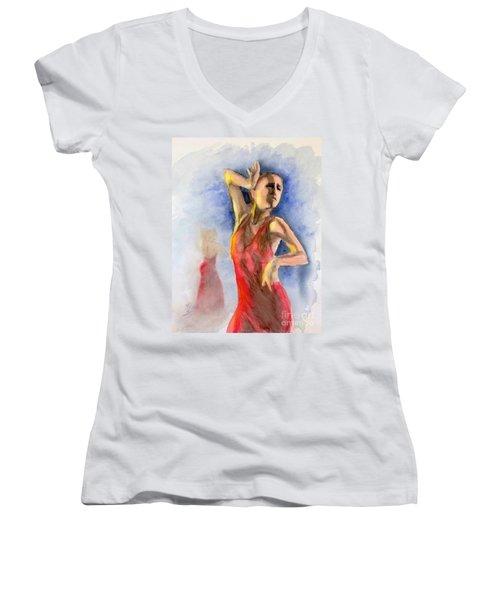 A Flamenco Dancer  2 Women's V-Neck (Athletic Fit)